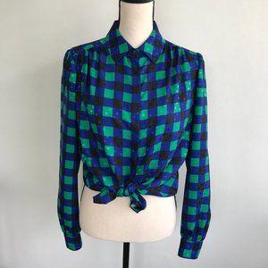 St. John Vintage Mod Style Button Up Blouse